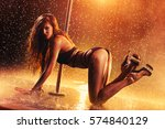 young sexy slim woman pole... | Shutterstock . vector #574840129