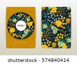 Stock vector cover design with floral pattern hand drawn creative flowers colorful artistic background with 574840414