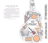 music instrument retro line... | Shutterstock .eps vector #574843081