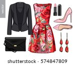 lady fashion set of spring ... | Shutterstock .eps vector #574847809