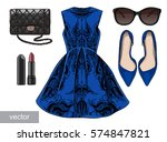 lady fashion set of spring ... | Shutterstock .eps vector #574847821
