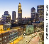 Stock photo the skyline of boston in massachusetts usa at night showcasing its mix of contemporary and 574849609