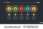 five hexagons diagram slide... | Shutterstock .eps vector #574858201