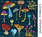 set of stylized mushrooms  | Shutterstock .eps vector #574861471