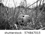 Dismal Doll Head Over Grass In...