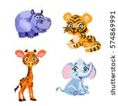 image pixel art animals | Shutterstock .eps vector #574869991