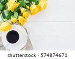 Cup Of Coffee With Bouquet Of...