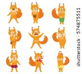 set of squirrel emoji. vector... | Shutterstock .eps vector #574875511