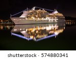 large luxury cruise ship on sea ... | Shutterstock . vector #574880341