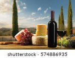 red wine in vintage light with... | Shutterstock . vector #574886935