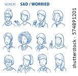 set of various sad or worried... | Shutterstock .eps vector #574891201