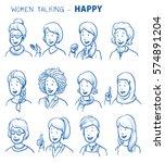 set of various happy women in... | Shutterstock .eps vector #574891204