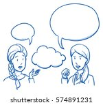 two young women discussing... | Shutterstock .eps vector #574891231
