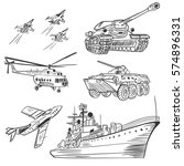 vector army vehicles sketch set ...