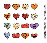 set of cute lovely emoticons.... | Shutterstock .eps vector #574903021