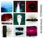 9 grunge banner floral... | Shutterstock .eps vector #57490402