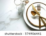 elegant and chic gold and white ... | Shutterstock . vector #574906441