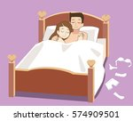 love couple on their bed. happy ... | Shutterstock .eps vector #574909501