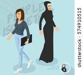 secular and muslim ladies.... | Shutterstock .eps vector #574910515