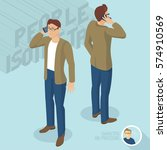 young man phoning. front and... | Shutterstock .eps vector #574910569
