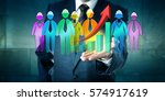 business man holding a group of ... | Shutterstock . vector #574917619