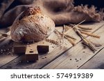 fresh multigrain crusty bread... | Shutterstock . vector #574919389
