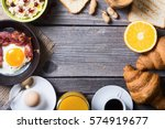 breakfast including coffee ... | Shutterstock . vector #574919677