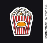 doodle icon  sticker. popcorn.... | Shutterstock .eps vector #574924411