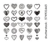 hand drawn hearts signs in... | Shutterstock .eps vector #574931665