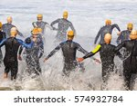triathlon men  in swiming... | Shutterstock . vector #574932784