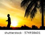 silhouette of people walking or ... | Shutterstock . vector #574938601