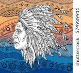man in the native american... | Shutterstock .eps vector #574939915