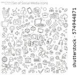 hand drawn social media icons.... | Shutterstock .eps vector #574944871