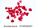 Stock photo abstract of red rose petals isolated on a white background 574956907
