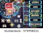business man touch a red online ...   Shutterstock . vector #574958521