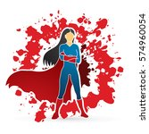 super hero woman standing arms... | Shutterstock .eps vector #574960054