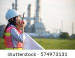 asian young women engineer... | Shutterstock . vector #574973131