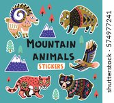 collection of stickers with... | Shutterstock .eps vector #574977241