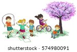children playing in the park | Shutterstock . vector #574980091