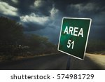 area 51 sign in the middle of... | Shutterstock . vector #574981729