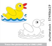yellow duck. dot to dot... | Shutterstock .eps vector #574986619