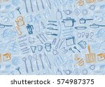vector hand drawn seamless... | Shutterstock .eps vector #574987375