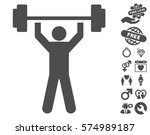 power lifting pictograph with... | Shutterstock .eps vector #574989187