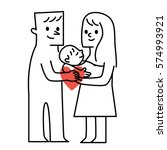 parents and baby.vector... | Shutterstock .eps vector #574993921