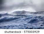 turbulent waves of pacific... | Shutterstock . vector #575003929