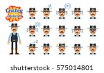 set of sheriff emoticons. old... | Shutterstock .eps vector #575014801