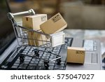 many paper boxes in a small... | Shutterstock . vector #575047027