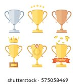 award cup set. crown and medal... | Shutterstock .eps vector #575058469