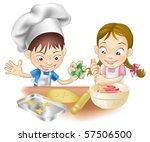 an illustration of two children ... | Shutterstock .eps vector #57506500