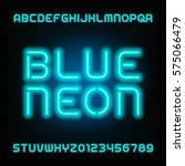 neon tube alphabet font. type... | Shutterstock .eps vector #575066479